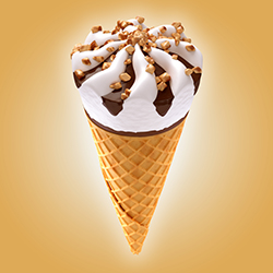 ice cream cone on brown background