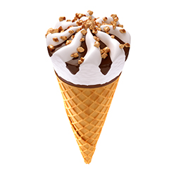 ice cream cone on brown isolated